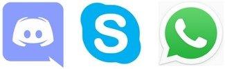 Discord, Skype, WhatsApp - Logos für die Online-Beratung